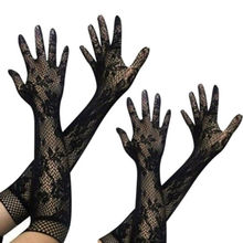 Women Lace Gloves Hot Sexy Womens Transparent Long Hollow Out Stretch Three Colors