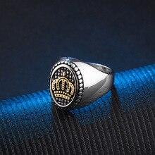 лучшая цена Vintage Gothic Silver Gold King Crown Ring 316L Stainless Steel Casting Biker Ring for Men Punk Cool Wholesale