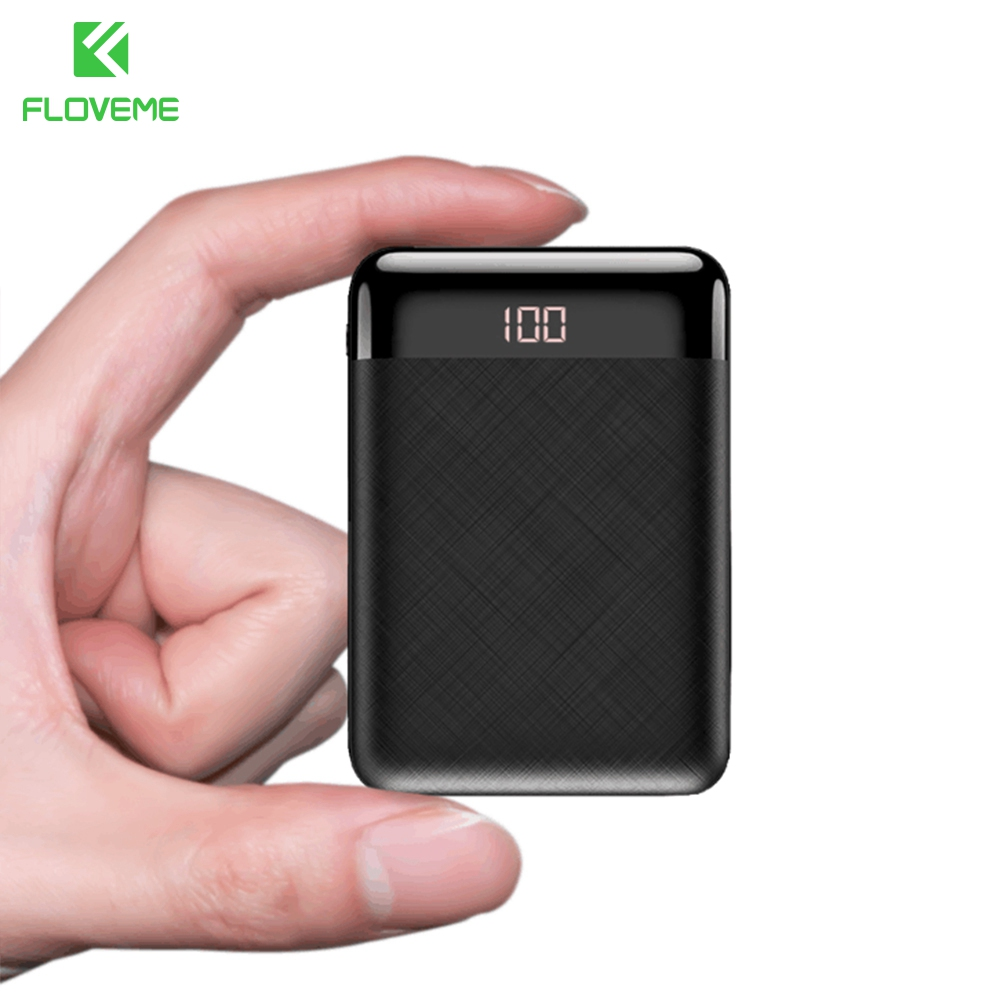 FLOVEME 10000mAh Power Bank For Huawei For Xiaomi Phone Charger Dual External Battery Pack Portable Powerbank With Free Cables