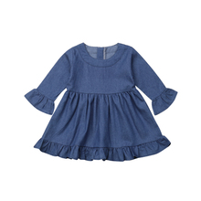 Emmababy 2019 New Brand Kid Baby Girls Long Sleeve Princess Dress Outfit Denim Party Sundress Clothes