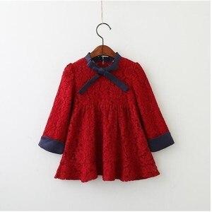 Image 2 - סתיו פעוט תינוקת שמלת נסיכת תחרה ארוך שרוול סתיו בית ספר חג ילדי שמלות ילדים קוריאני אופנה