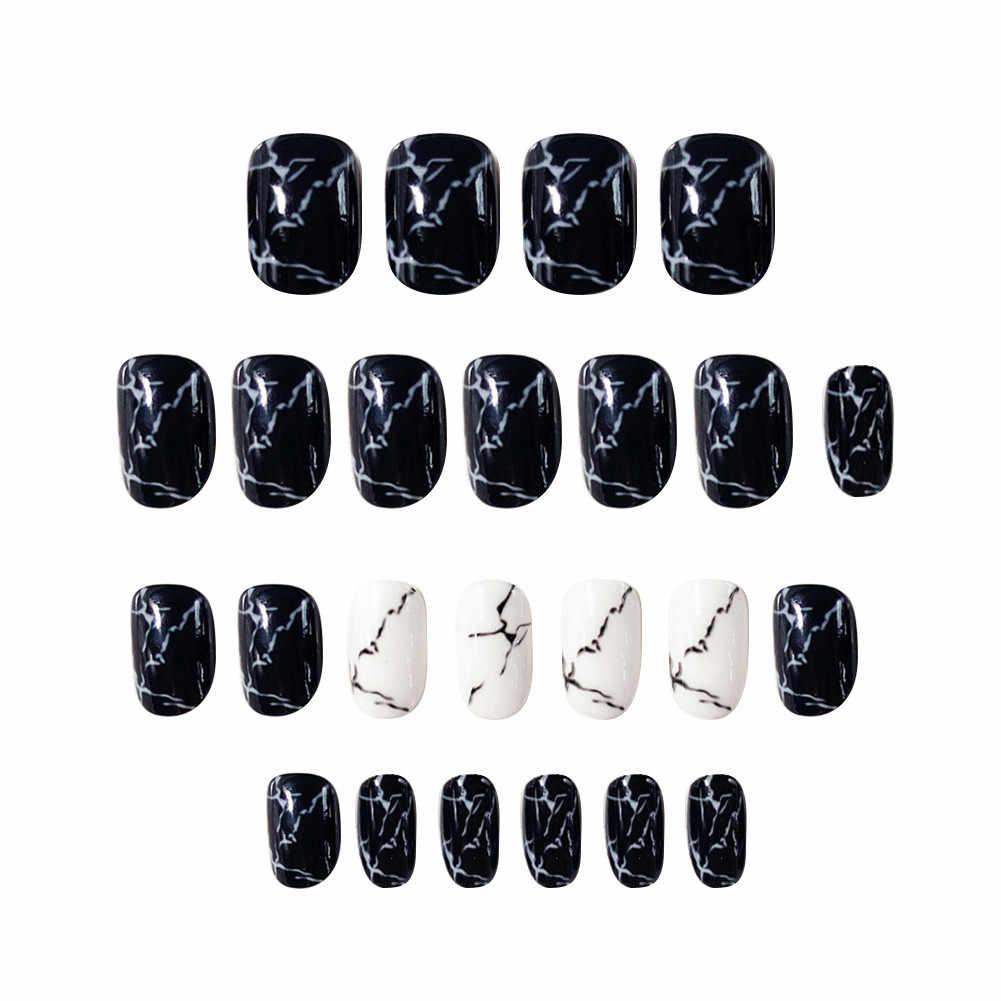 Накладные ногти ELECOOL, 24 шт., УФ, мраморные, черные, с полным покрытием, Длинные акриловые накладные ногти, накладные ногти, искусственный дизайн
