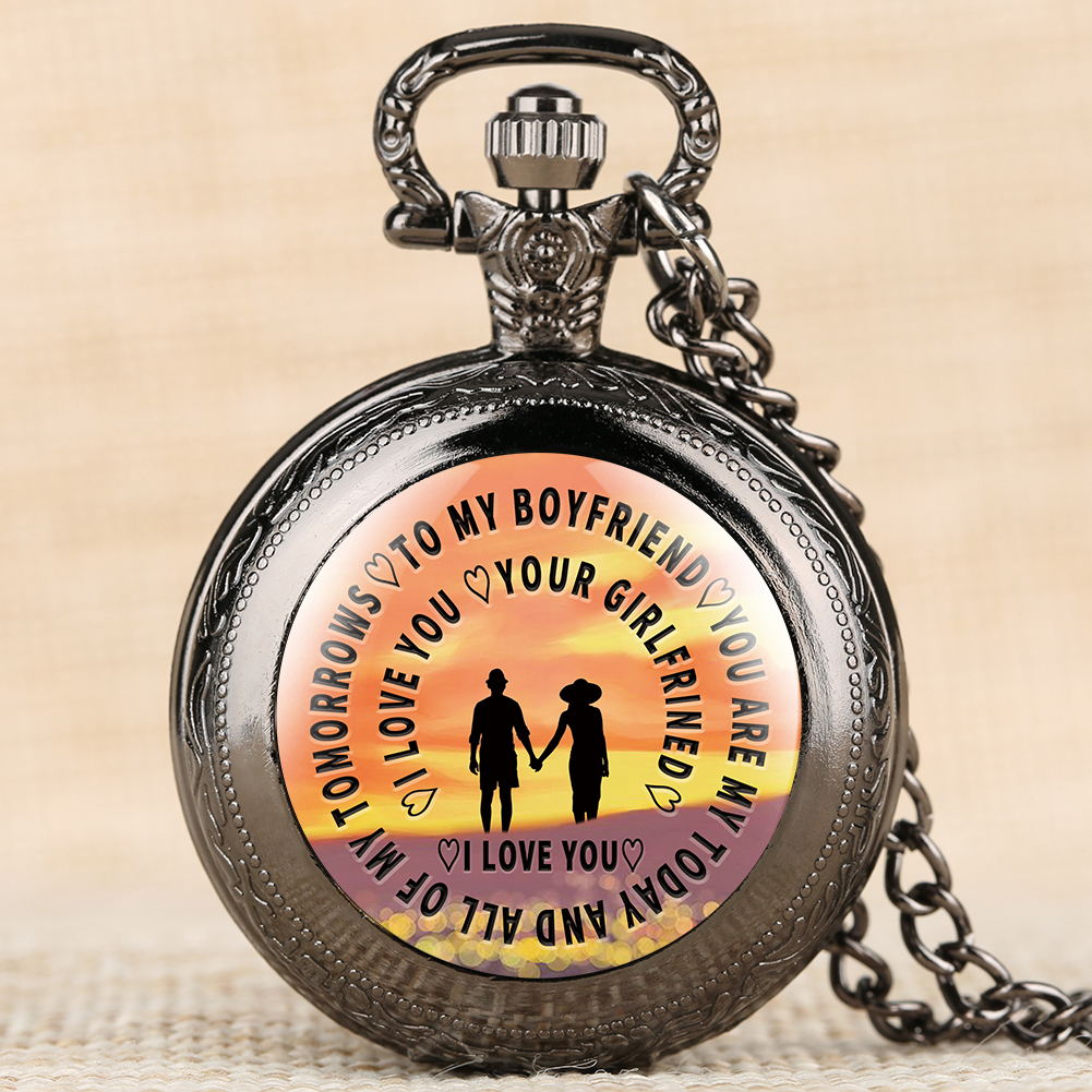 Classic Pocket Watch To My Boyfriend Pattern Pocket Watches Special Necklace Chain Clock Pendant Men Women Gift Dropshipping