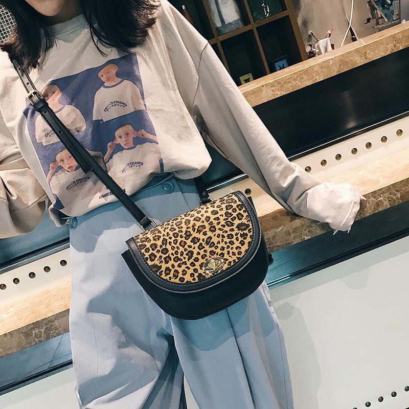Women\'S PU Leather Leopard Printing Saddle Bag Female Single Shoulder Crossbody Bag Tide 10C983