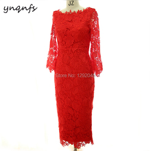 YNQNFS MD403 Party Gown Formal Dress Vintage Tea Length Wedding Guest Wear Mother of Bride Dresses Lace Outfits 2019