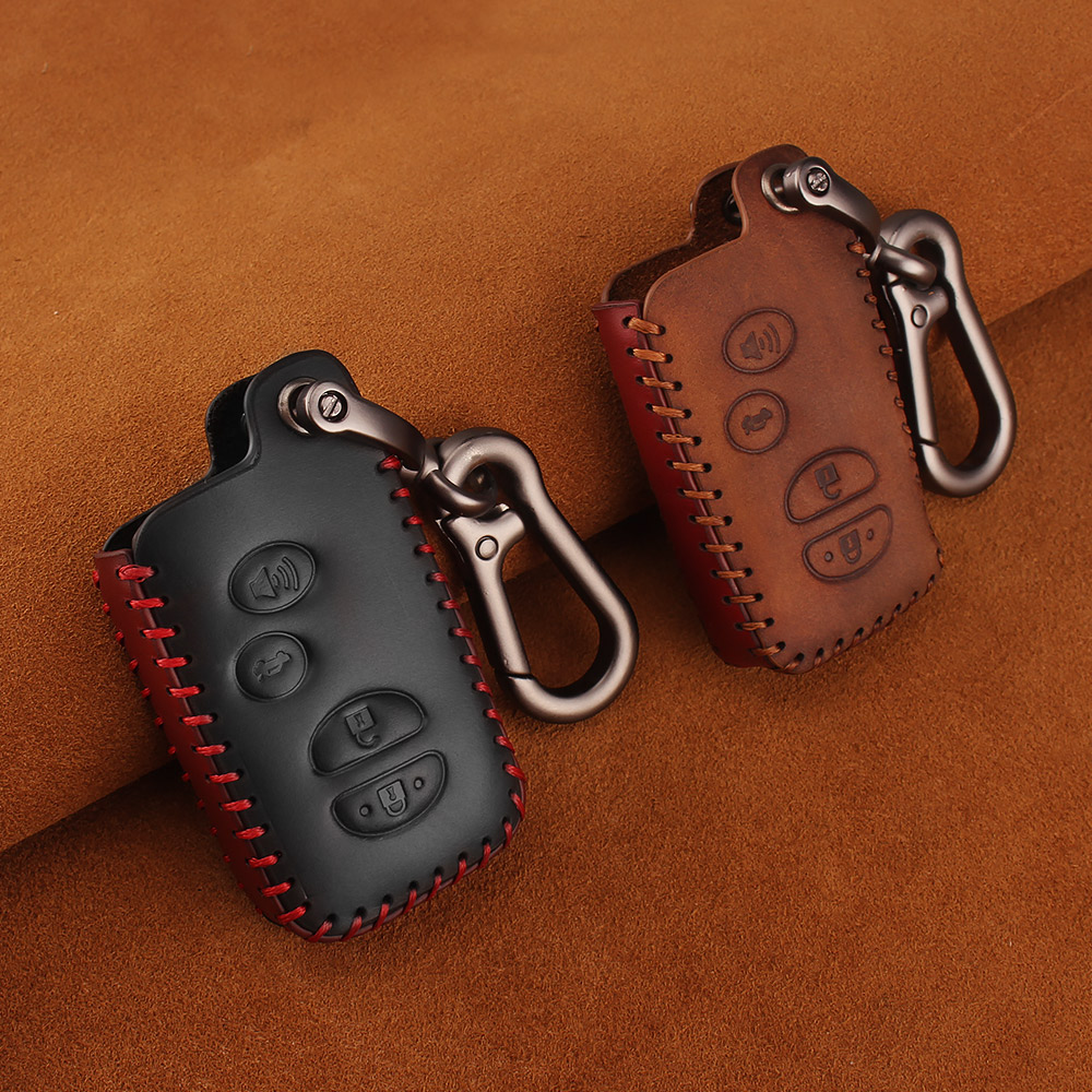 Image 3 - KEYYOU For Toyota Prius Land Cruiser Avalon Prado Leather Car Key Keychain Covers Key Case Bag KeyChain Bag 2/3/4 Buttons-in Key Case for Car from Automobiles & Motorcycles