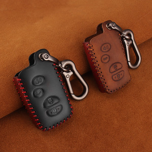 Image 3 - KEYYOU For Toyota Prius Land Cruiser Avalon Prado Leather Car Key Keychain Covers Key Case Bag KeyChain Bag 2/3/4 Buttons