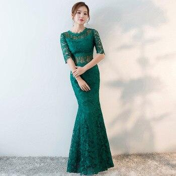 db3acca36 Verano moda Cheongsam de cola de pescado de mujer delgada moderno Qipao vestido  chino tradicional traje chino Oriental vestido de noche