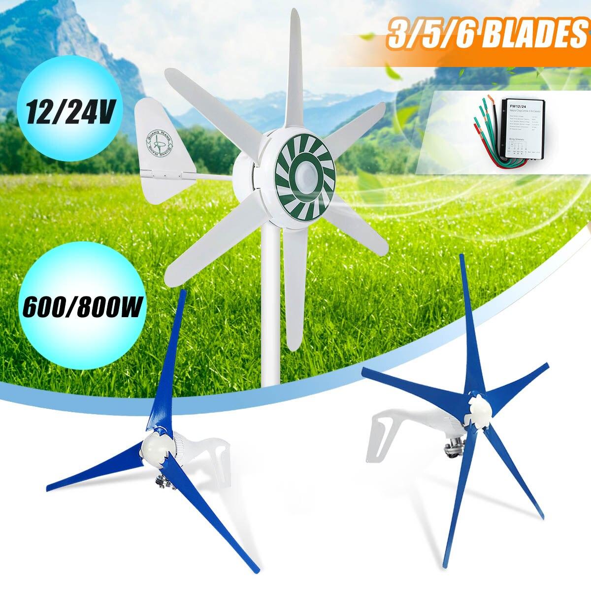 600/800 W 3/5/6 lame de Fiber de Nylon Horizontal à la maison vent pour Turbine éolienne puissance moulin à vent énergie pour Turbine Charge 12/24 V