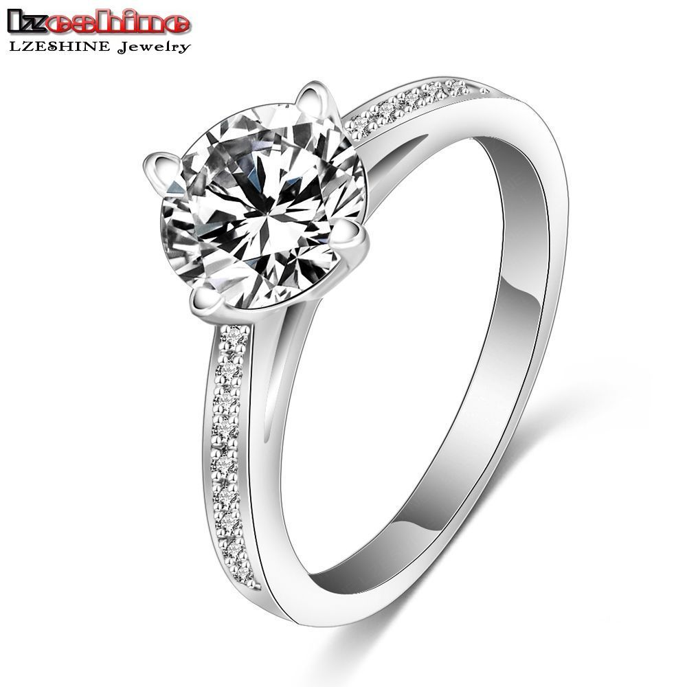 Lzeshine Engagement Ring Silver Color Micro Inlay Aaa