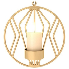 3D Geometric Round Iron Tealight Candle Holder Nordic Style Sconce Wedding Party Candlestick Home Wall Decor