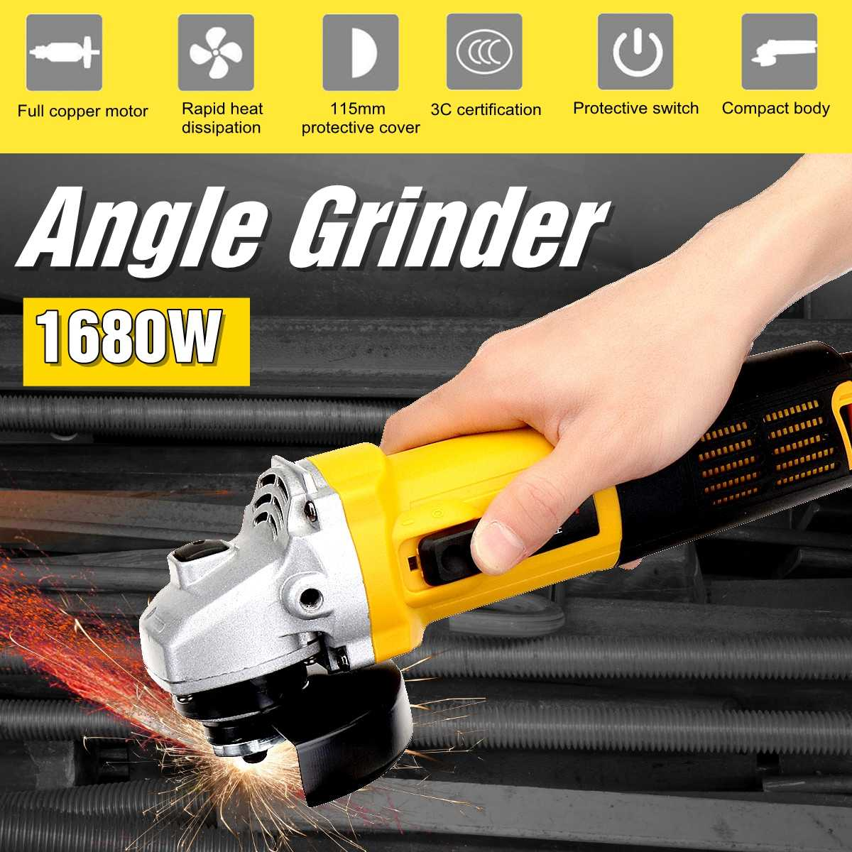 220V/50Hz 1680W 11000r/min Angle Grinder Electric Angle Grinding Cutting Power Tools 100mm Diameter220V/50Hz 1680W 11000r/min Angle Grinder Electric Angle Grinding Cutting Power Tools 100mm Diameter
