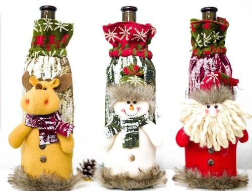 Vast Kerst Wijnfles Cover Gebreide Tas Xmas Party Diner Tafel Decoratie Herten Nieuw (In) Ontwerp;