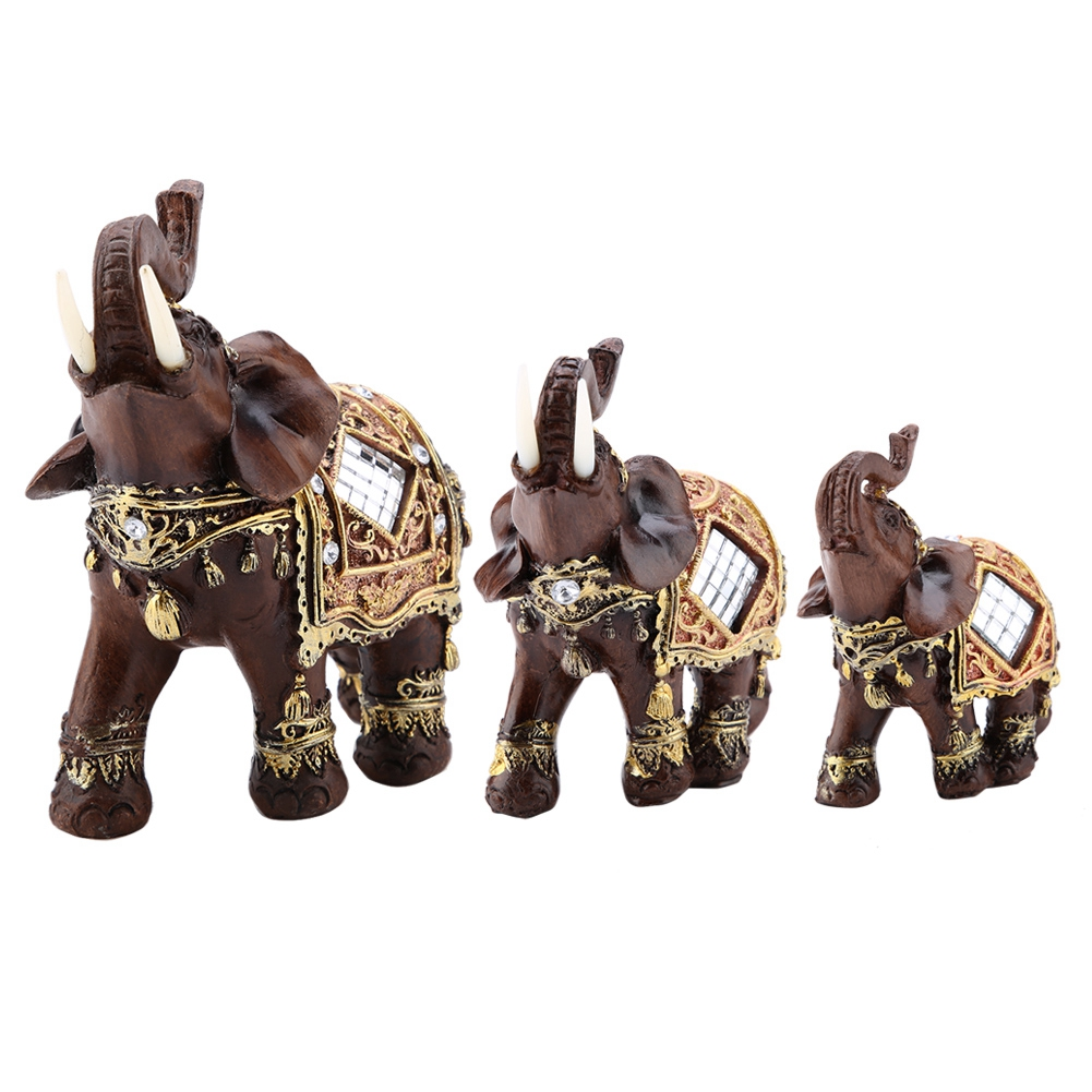 Lucky Feng Shui Wood Grain Elephant Statue Sculpture Wealth Figurine Gift Carved Natural Stone Home Decoration cặp voi gốm sứ trang trí