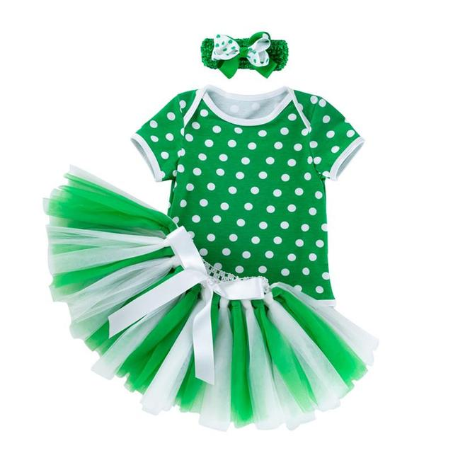 Newborn Baby Girls Cute Sets St. Patrick'S Day Outfits Green Party Costume Skirt Set