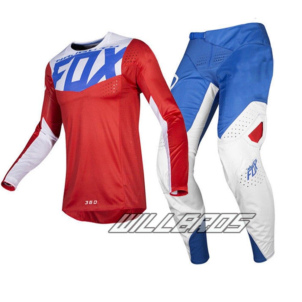 Free shipping 2019 Naughty Fox MX 180 Prizm Red Blue Jersey Pants Motocross Racing Dirt bike Off Road Racing Gear Set