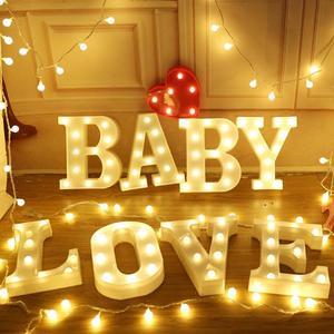 Image 3 - 3D 発光文字夜の光ホームベッドサイドランプロマンチックなウェディングパーティーデコレーションライト子供の寝室の装飾 22 センチメートル