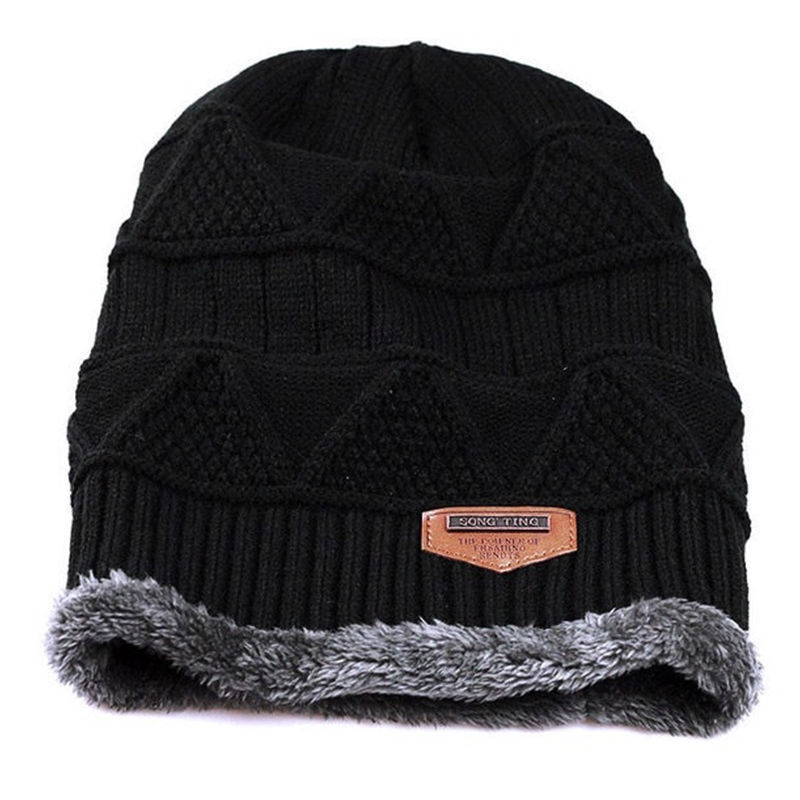 2018 New Style Fashion Men Patchwork Winter Warm Crochet Knit Baggy Beanie Wool Skull Hat Ski Cap Scarf Set