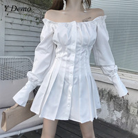 High Waist Slash Neck Pleated Dress Women Gothic Casual Single Breasted Sexy Sweet Dress