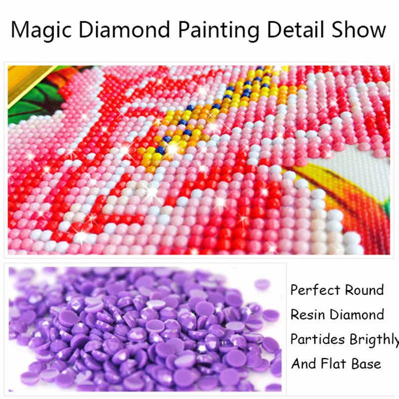 2019 חדש 5D DIY יהלומי ציור צלב תפר גלגל ענק הלילה צפה מלא עגול יהלומי רקמת ציורי פסיפס בית דקור