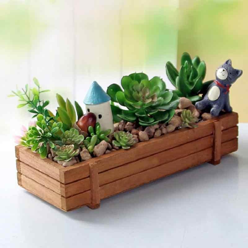 Mooie Houten Tuin Plant Pot Bloempot Tuin Planter Succulent Bloem Bed Plant Bed Pot Bloempotten Venster Doos Trog Pot trays