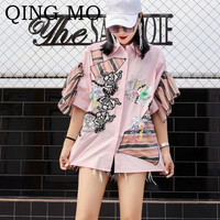 QING MO Women Flower Embroidery Blouse Pink White Women Short Sleeve Ruffles Blouse Turn down Collar Casual Style Top ZQY105