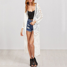 Women Blouses White Embroidered Sexy Mesh Long line Kimono Long Sleeve Beach Clothing Fashion Open Front Kimono Sun protection floral embroidered kimono