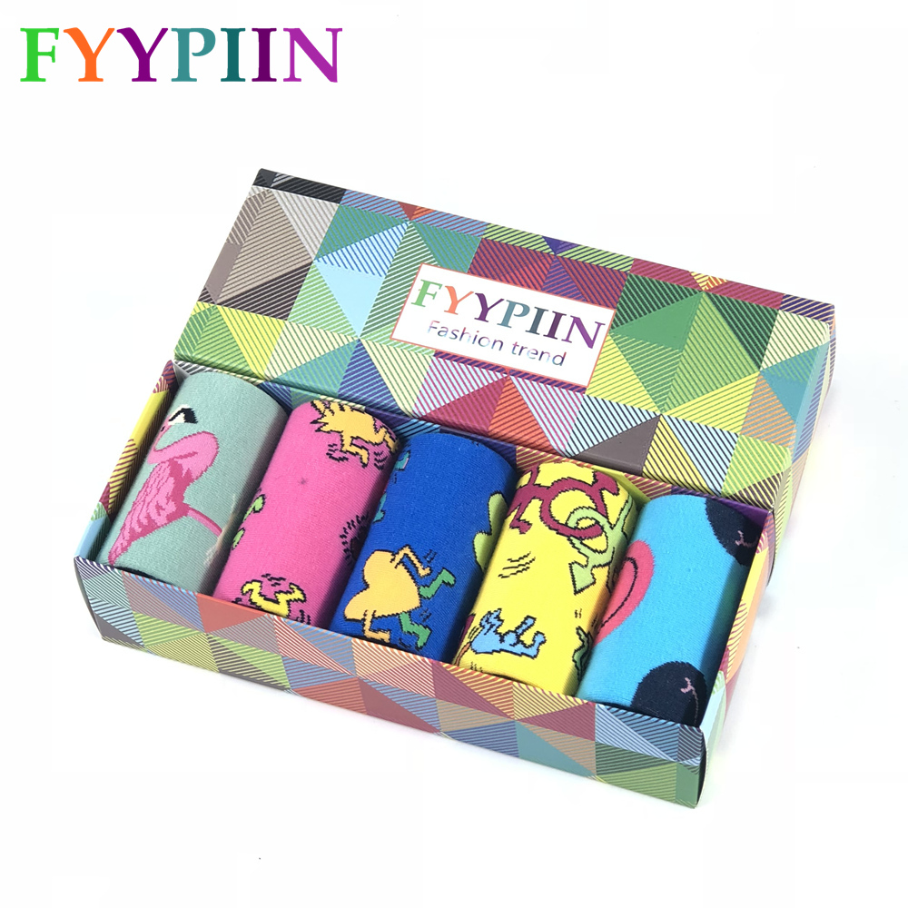 2020 Men Socks Hot Sale Fashion Casual The Latest Men's Combed Cotton Socks Gift Set Funny Skateboard 5 Pairs Gift Box Socks Men