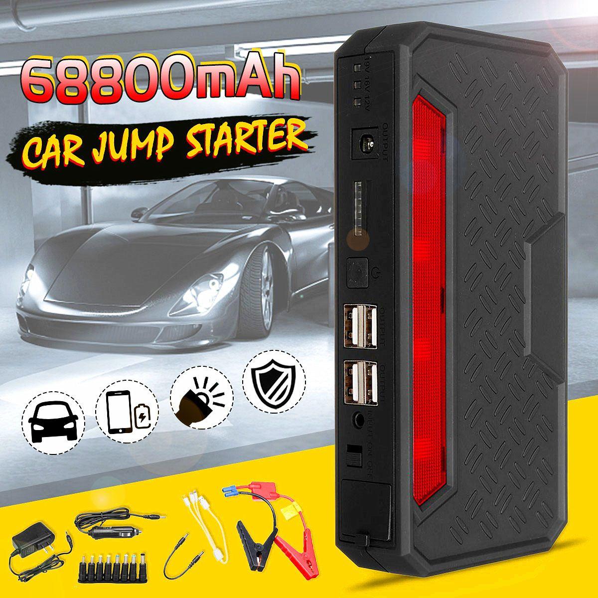 68800 mAh 12 V multifonctionnel voiture saut démarreur 4USB chargeur d'urgence Booster batterie externe voyant LED de batterie batterie externe pour voiture