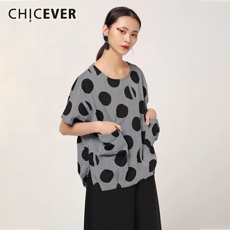 Blouses & Shirts Chicever Summer Women Print Shirt Lapel Three Quarter Sleeve Button Open Stich Loose Slim Long Female Top Blouse 2019 Fashion