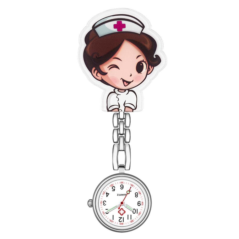 Cute Numeral Analog Quartz Clip-On Fob Nurse Doctor Watches Hanging Luminous Lapel Pocket Watch For Female Ladies