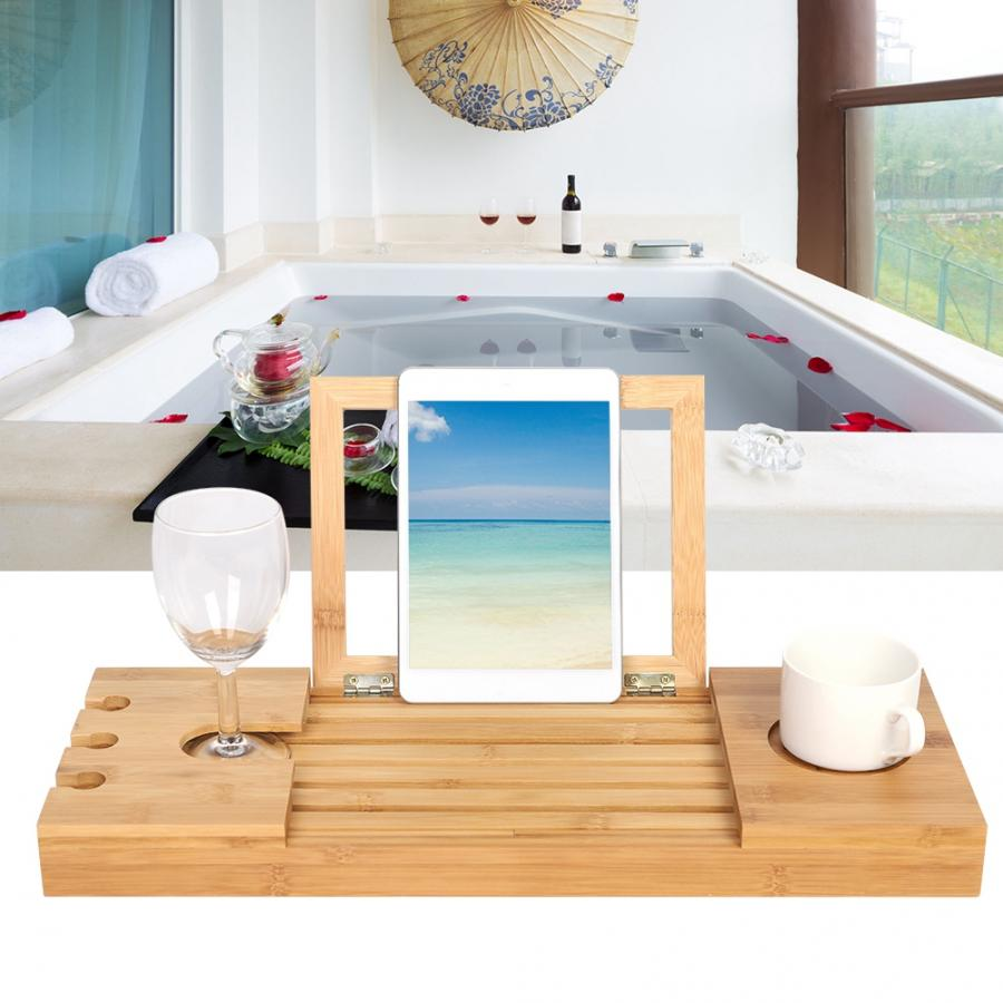 Bathroom Shelves Bamboo Bathroom Tray Telescoping Bathtub Desk For Phone Laptop Notebook Wine Glasses Candles Bathroom Holder Bathroom Fixtures