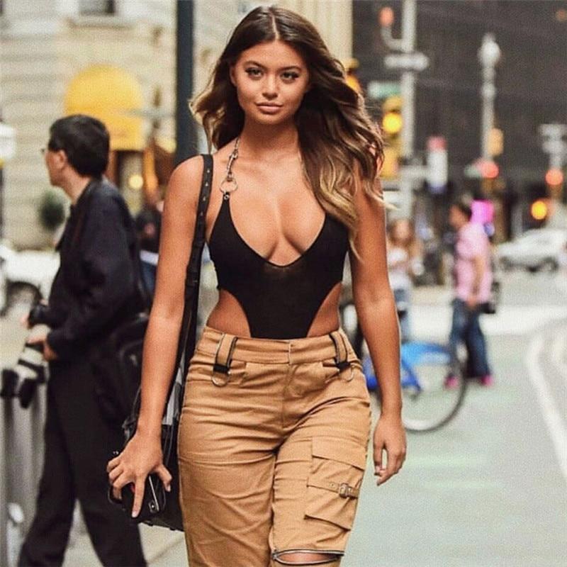 Black Mesh Bodysuit Sexy Halter Metal Chain Sleeveless Backless Bodysuits Women Bodycon   Jumpsuits   Overalls Streetwear