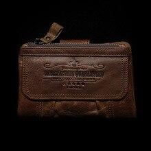 2019 New Handmade Men Wallets Leather Double Zipper Card Holder Short Male Purse Coin Pocket Vintage Brand Quailty