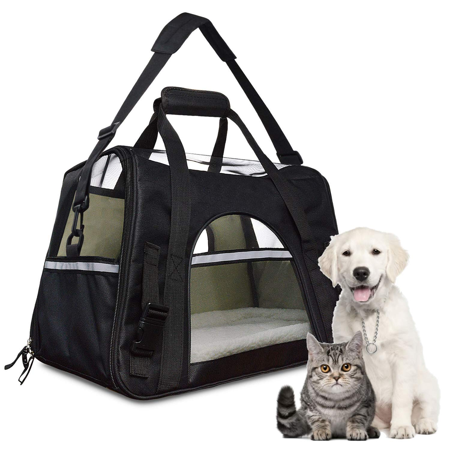 Airline Approved Pet Carrier,Waterproof Pet Travel Carrier With Fleece Bedding Soft Sided Portable Tote For Cats And Small Dog