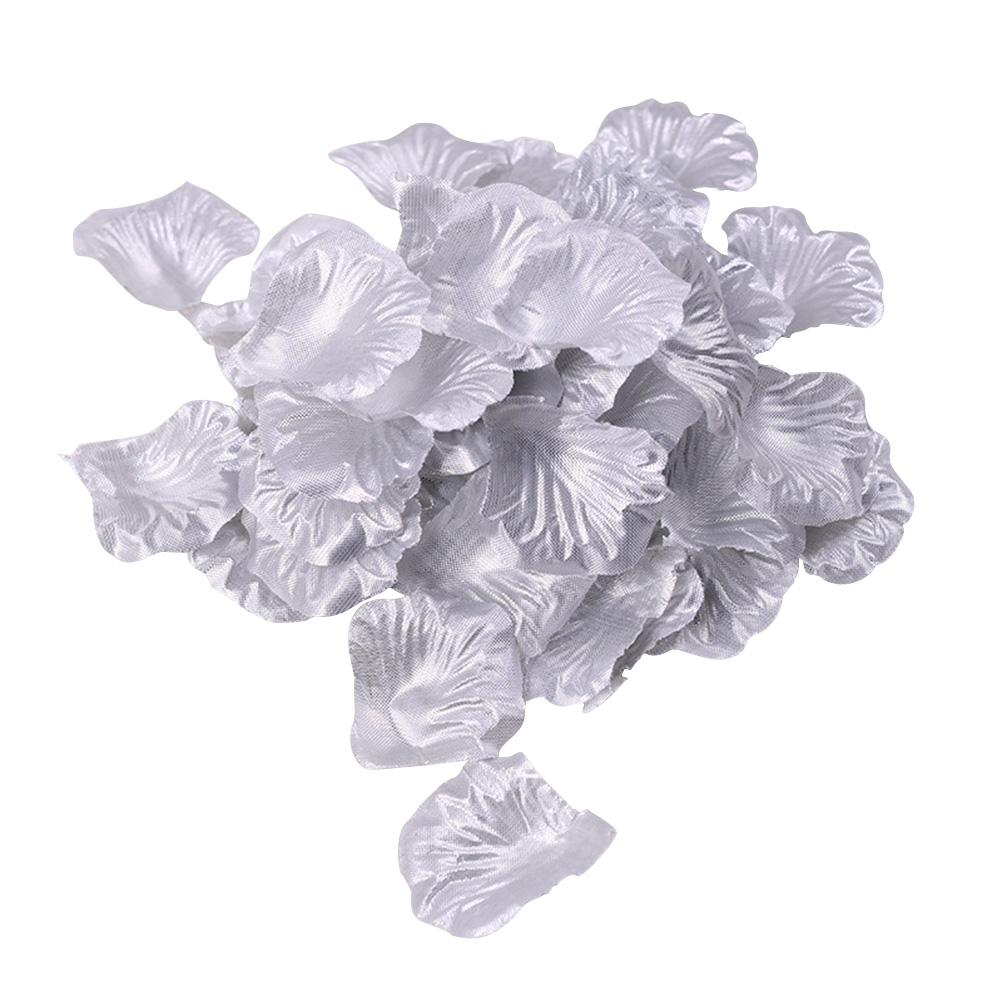 100pcs Artificial Flower Rose Petals For Wedding Party Decoration (Silver)