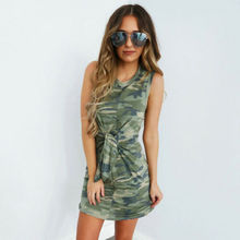 Summer Dresses 2019 New Womens Camouflage Slim Dress Casual Sleeveless O-Neck Simple Size S-XL