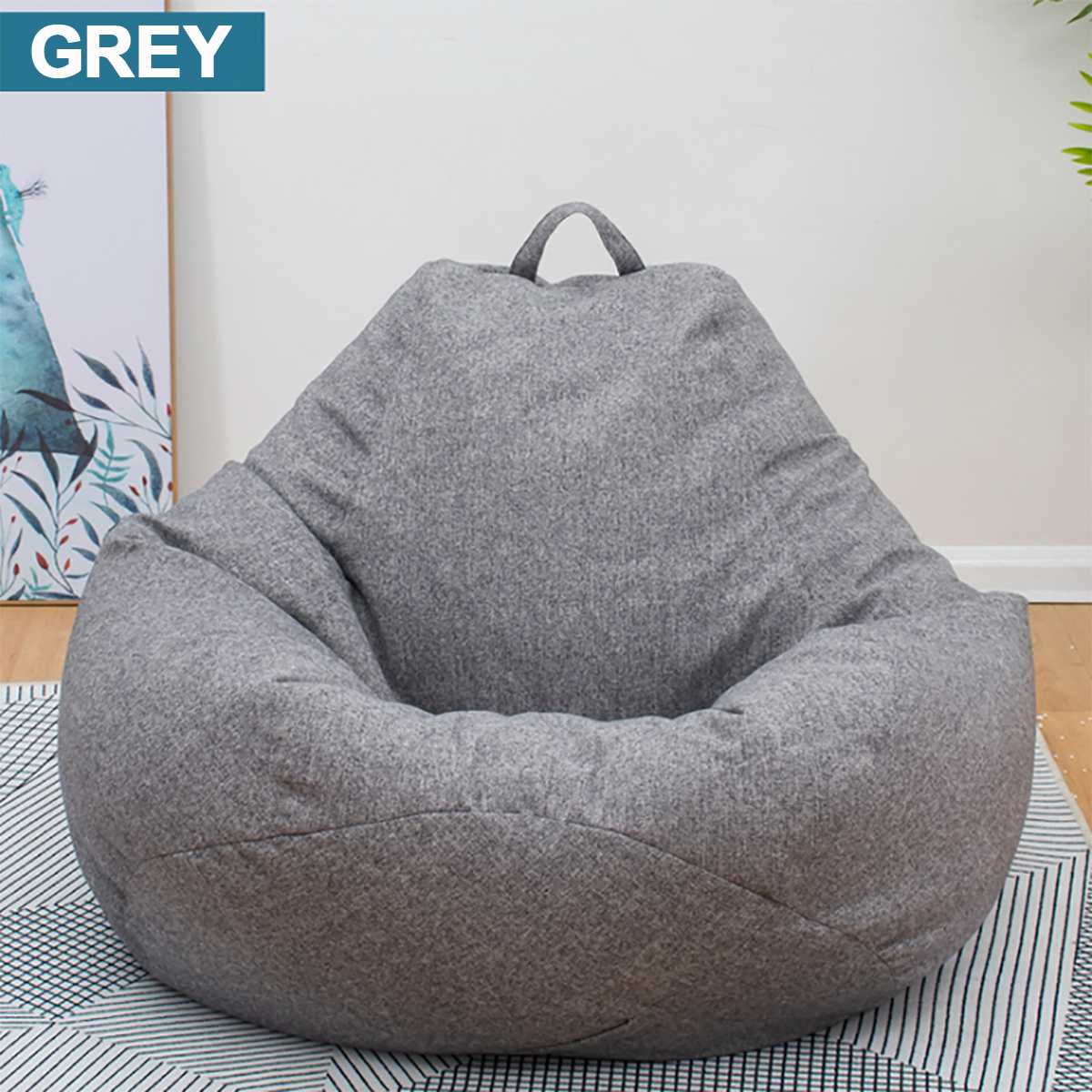 Chairs Cover Seat-Bean-Bag Filler Couch Lounger Cloth Pouf-Puff Tatami Linen Lazy Living-Room