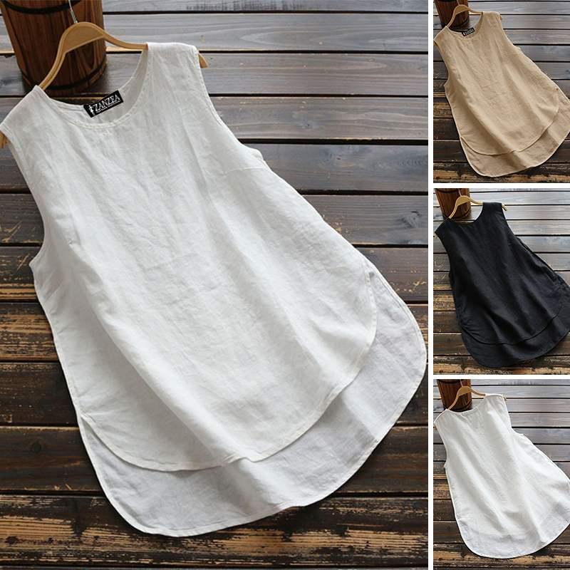 Women's Irregular Blouse ZANZEA 2019 Plus Size Tanks Tops Casual Linen Blusas Female Sleeveless Chemise Summer Tee Shirts 5XL