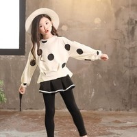 Cotton Kids Clothes Girls 8 To 14 Dot Children's Clothing Long Sleeve Sportswear Suit Girls Sets Autumn Spring Ruffle Tops Pants