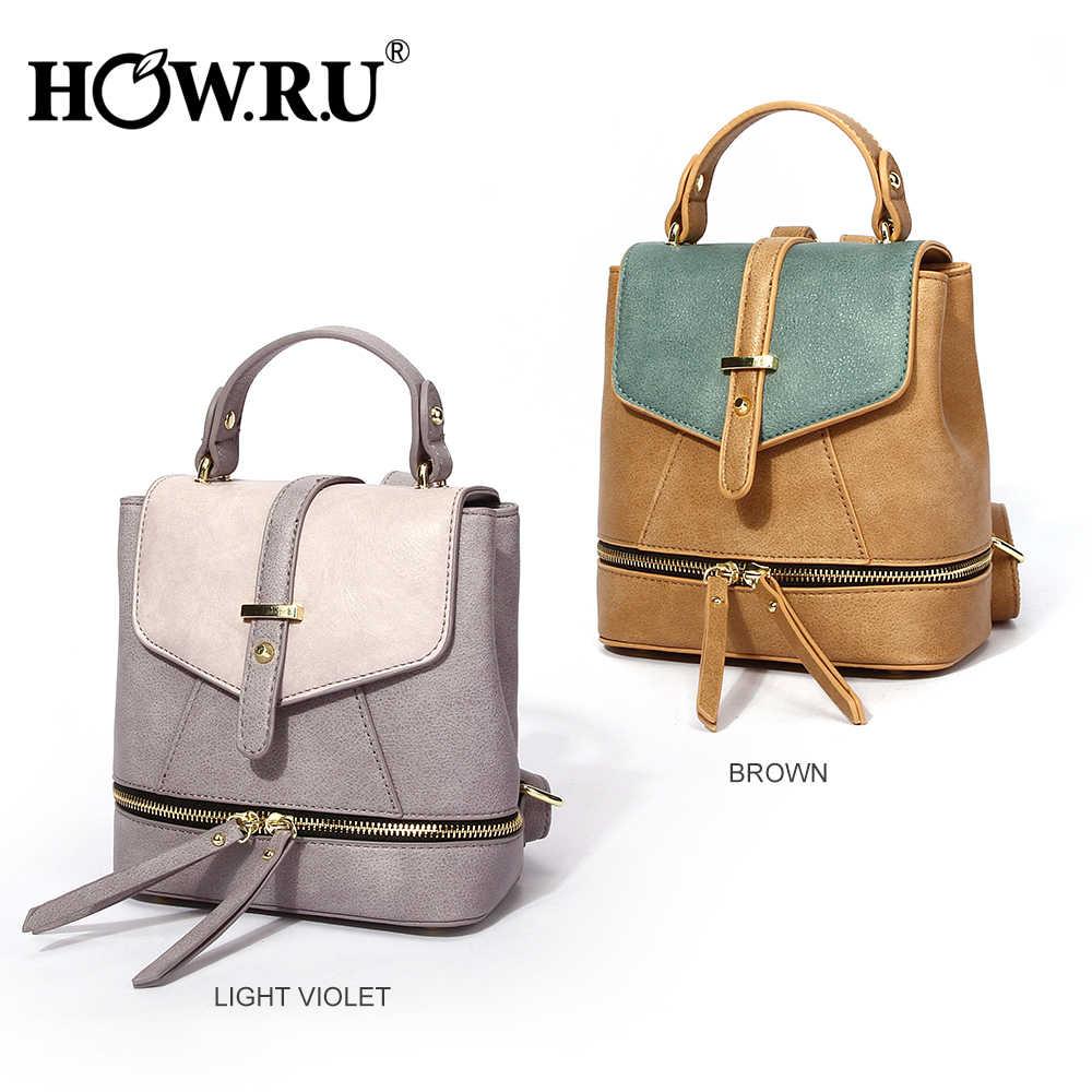 d7c76977623a HOWRU Fashion Mini Backpack Leather Woman Bag School Backpacks for Girls PU  Belt Design Shoulder Bag Zipper Feminina Backpack