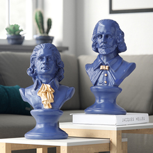 Shakespear & Mozart Head Portraits Bust Large Resin Statues for Home Decoration Art Craft Sculpture Sketch Practice