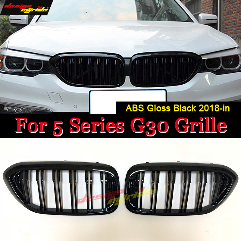 <font><b>G30</b></font> Double Slats Front Grille ABS Material Gloss Black For <font><b>G30</b></font> <font><b>520i</b></font> 530i 535i 540i Front Kidney Grille Auto Car styling 2018-in image