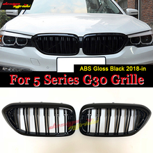 G30 Double Slats Front Grille ABS Material Gloss Black For 520i 530i 535i 540i Kidney Auto Car styling 2018-in