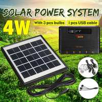 Home Solar Panel Generator Kit Outdoor Solar Panel LED Light Lamp USB Charger Garden Lantern Emergency LED Generator System