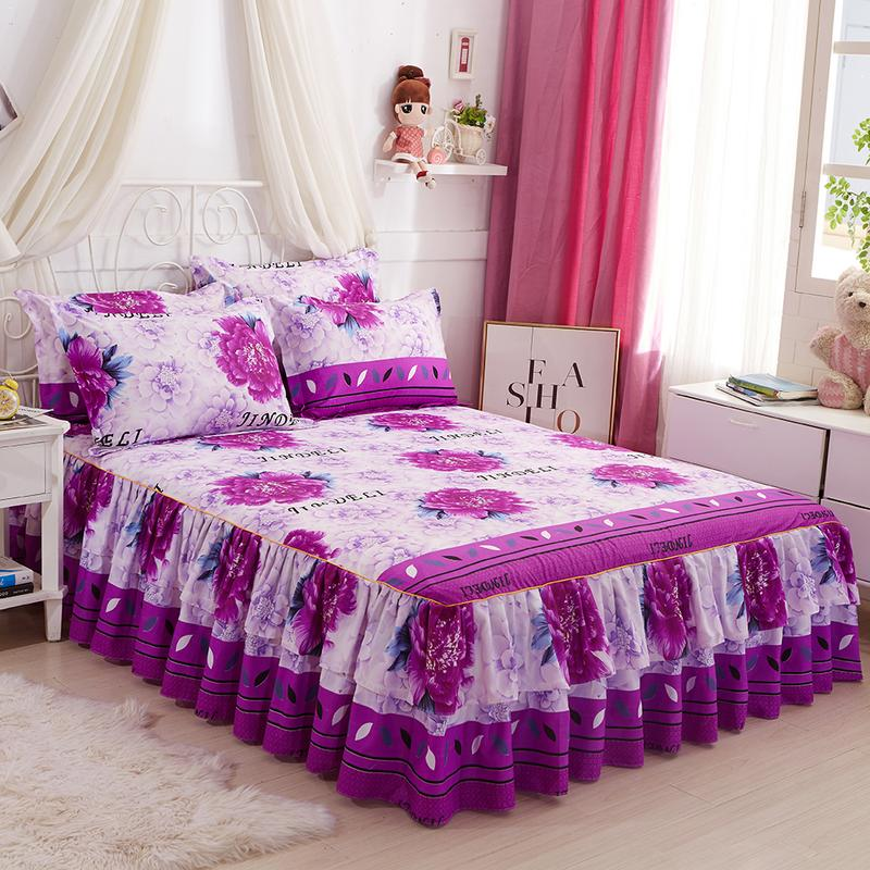 3 IN 1 Polyester Queen Size Bed Skirt Double-Layer Skin-Friendly Cotton Bedspread Colverlet 2 X Pillow Case Flower Set