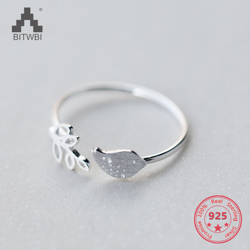 Korea New Style 925 Sterling Silver Simple Fashion Chic Bird Branches Open Ring Jewelry for Women