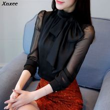 new Fashion solid chiffon women blouse shirt 2019 long sleeve blusa feminina office tops Xnxee