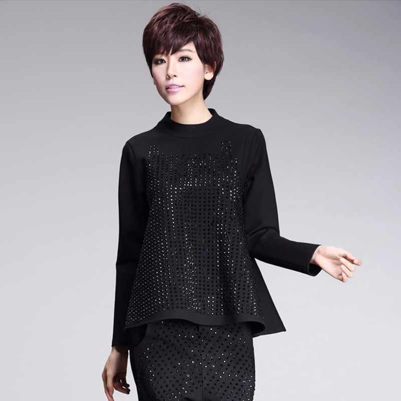 Max LuLu 2019 Весенняя модная Корейская одежда, женские топы с бриллиантами, женские черные футболки с высоким воротом, Женские повседневные футболки