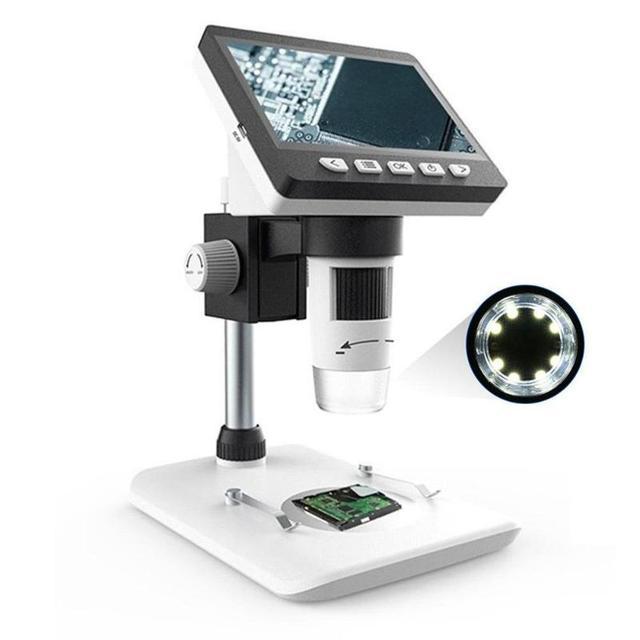 Microscopio Digital con 8 luces LCD, 4,3x1080 pulgadas, HD P, Lupa Electrónica para soldar de escritorio, compatible con 10 idiomas
